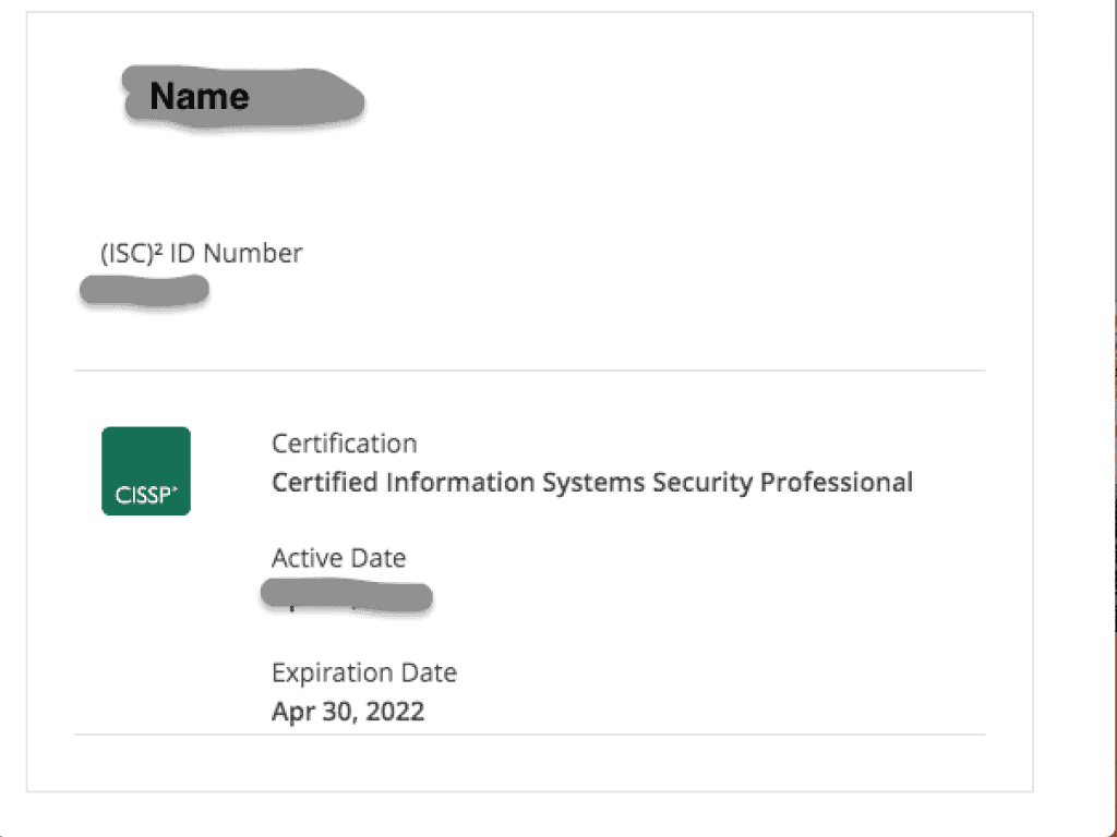 CISSP Verification