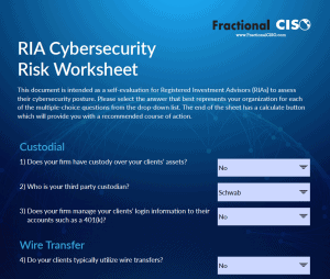 RIA Cybersecurity risk worksheet