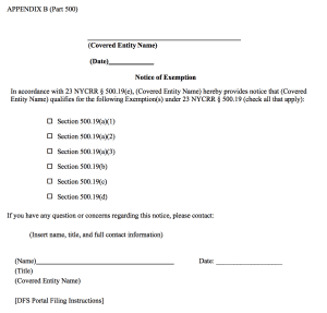 NY DFS Cybersecurity Exemption Form