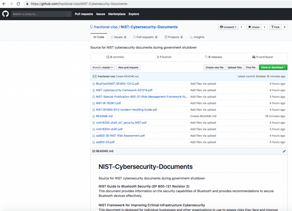 GitHub NIST Cybersecurity Documents