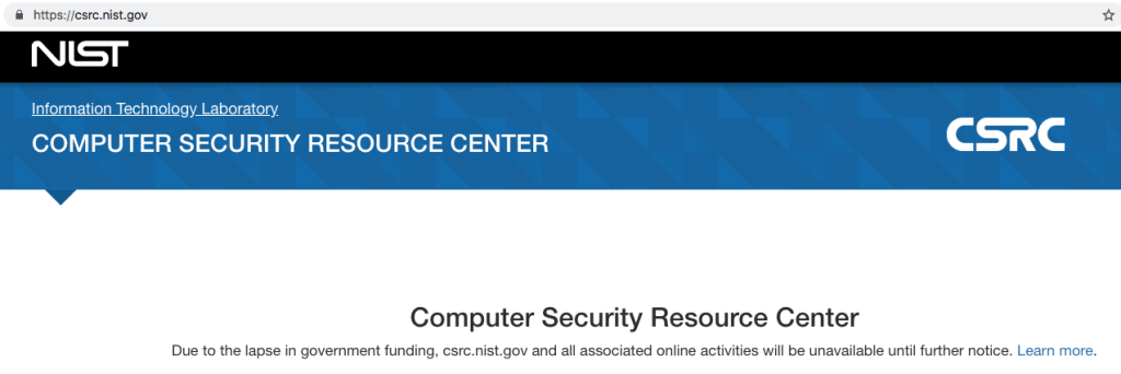 NIST Cybersecurity CSRC Shutdown