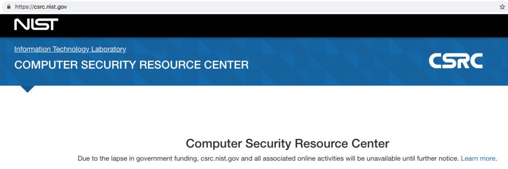 NIST Cybersecurity CSRC Shutdown