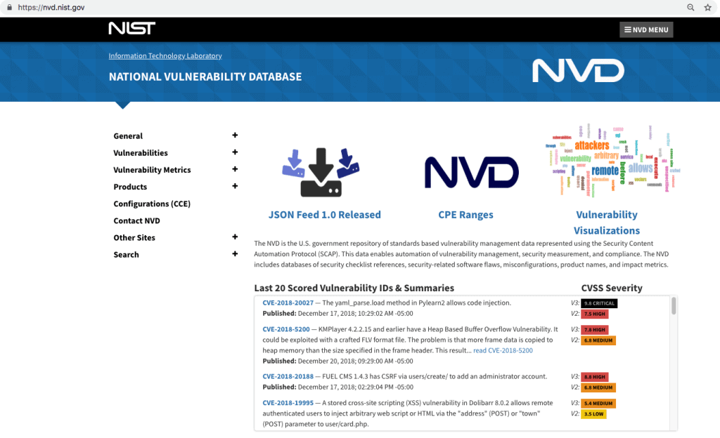 NIST Cybersecurity NVD