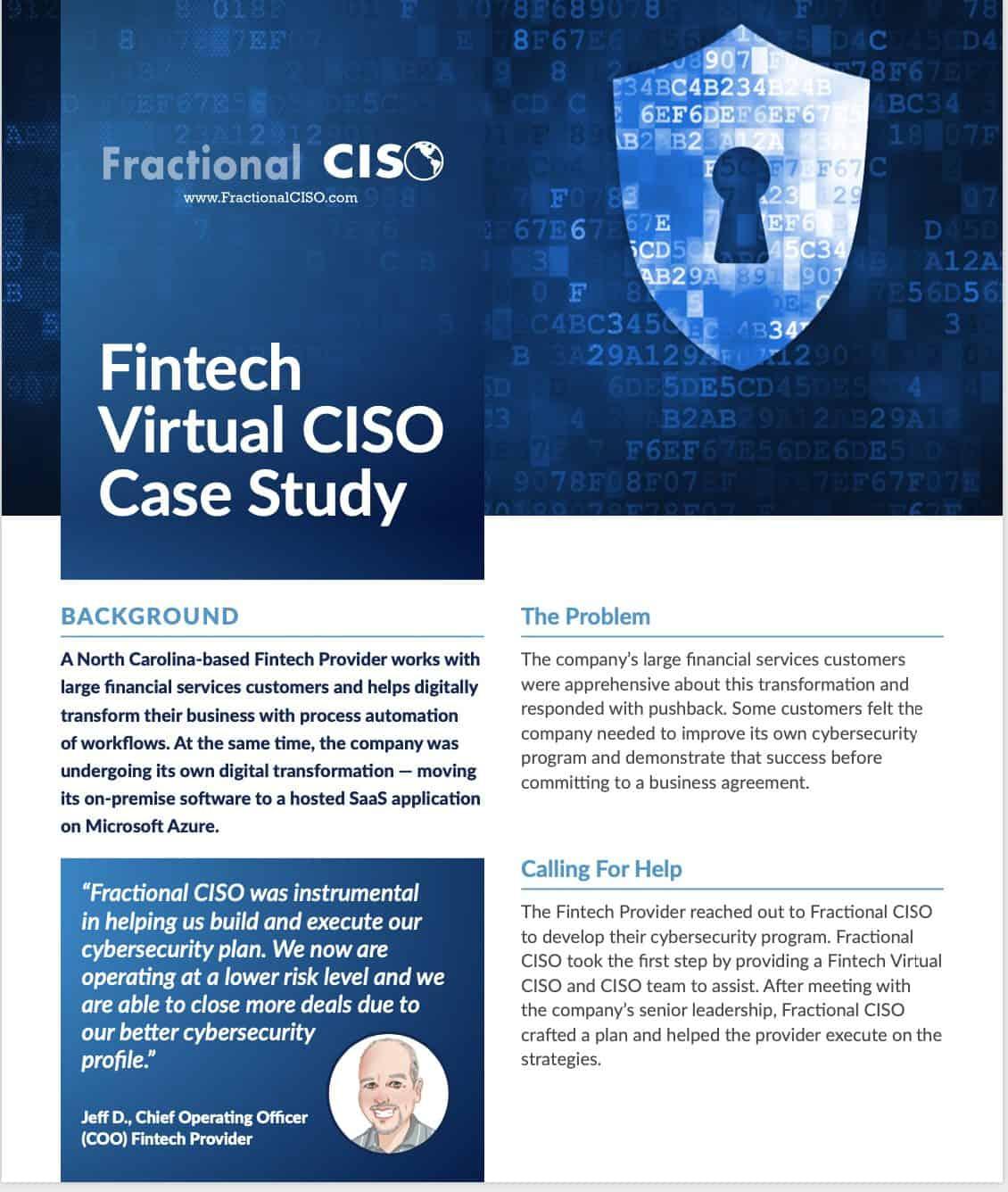 Fintech-Virtual CISO Case Study