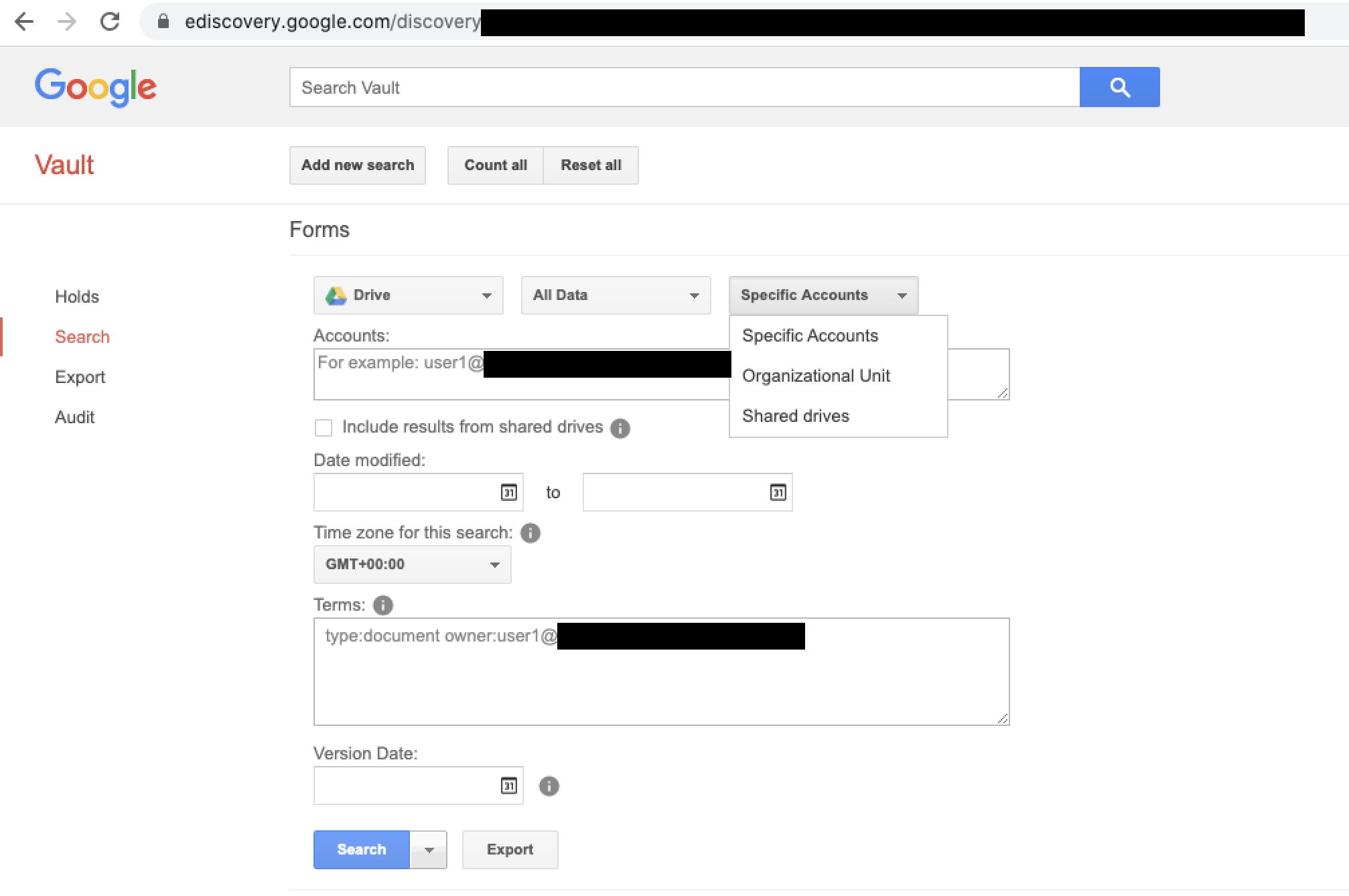 Google Vault eDiscovery