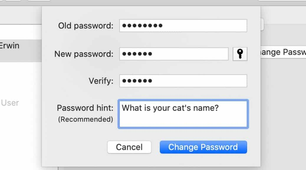 "Mac OS change password box. Password hint field reads ""What is your cat's name?"""
