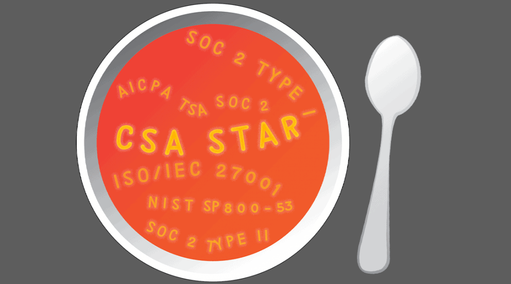 Bowl of alphabet soup with letters reading CSA STAR and other security standards