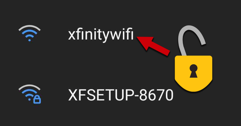 Screenshot of mobile WiFi selection screen with arrow and open padlock pointing at xfinitywifi network listing.