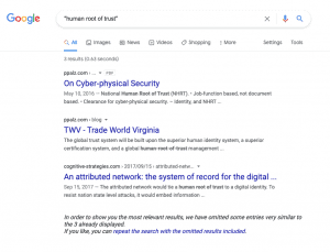 """Google search results for """"Human Root of Tust"""" - there are only three results, none are related to this article."""