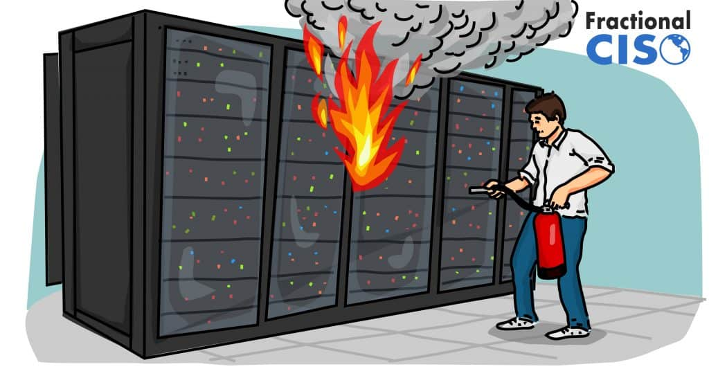 Server rack on fire with man pointing fire extinguisher at it.