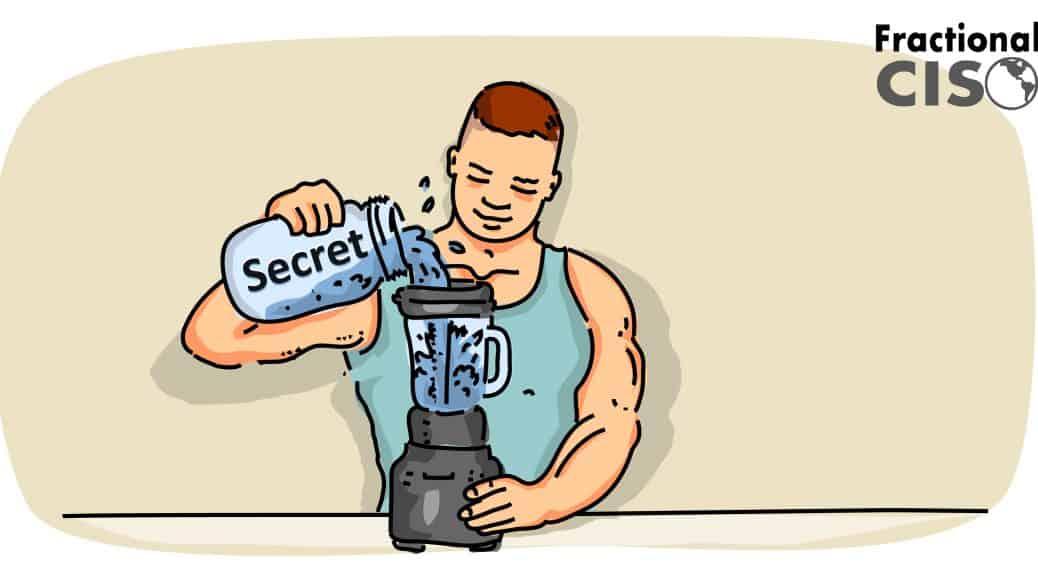 Buff bodybuilder pouring a secret ingredient into a blender.