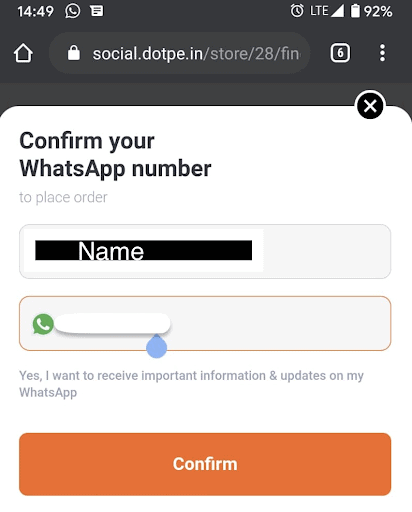 Restaurant menu app prompting user to confirm their WhatsApp number