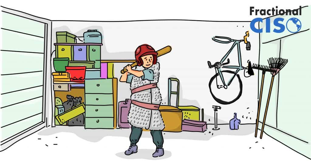 Illustration of child at baseball bat in a garage.