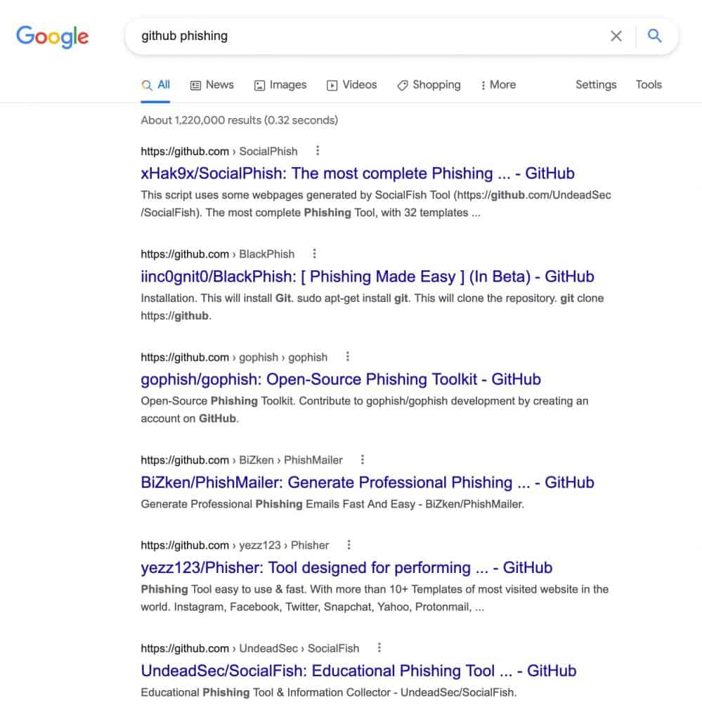 Screenshot of first page google results, there are many GitHub phishing kits.