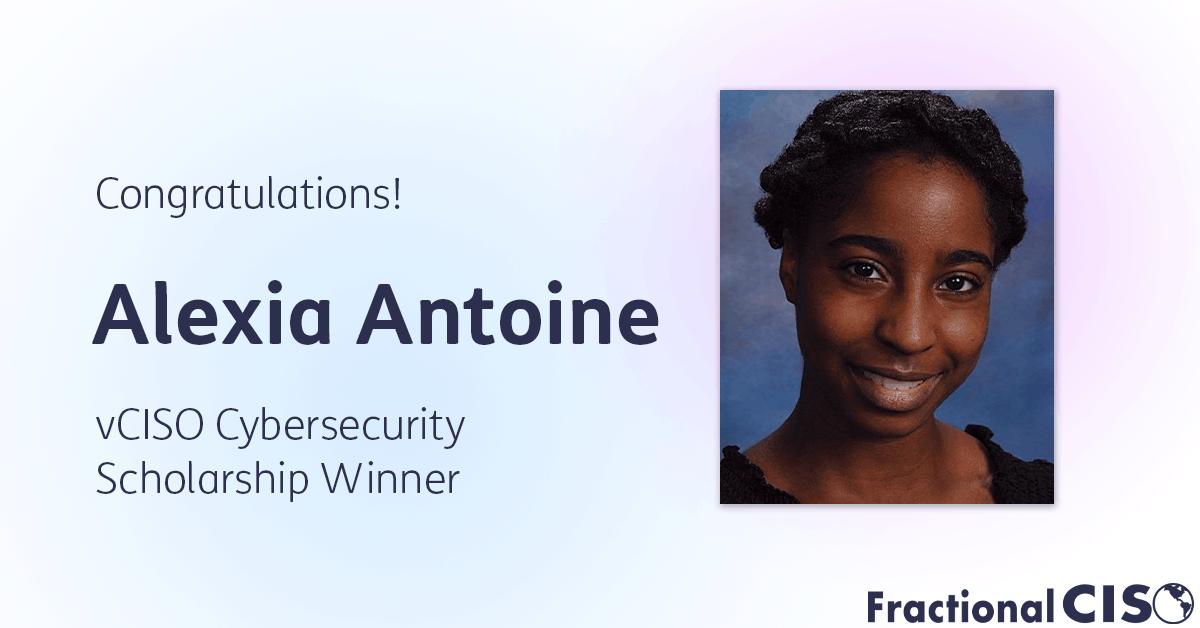 Congratulations Alexia Antoine! Headshot of Alexia Antoine