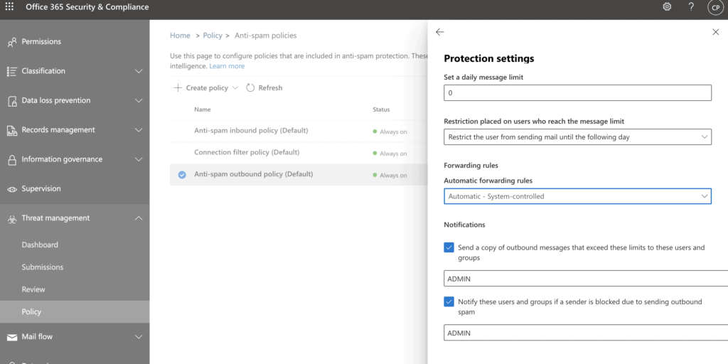 Office 365 Email Security for Outbound Spam