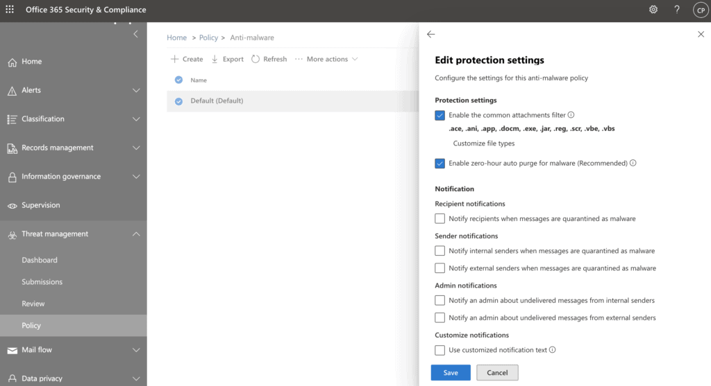 Attachment settings for Office 365 Email Security