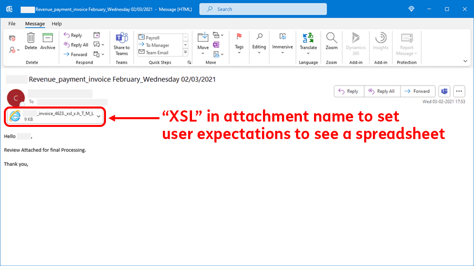 MS Morse Code Phishing Example Email
