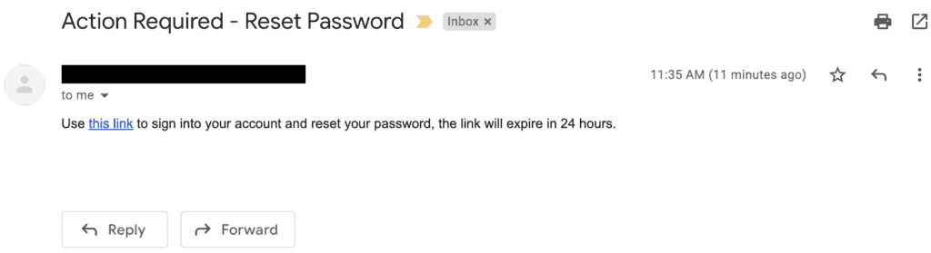 Invisible Ink Phishing Email Example