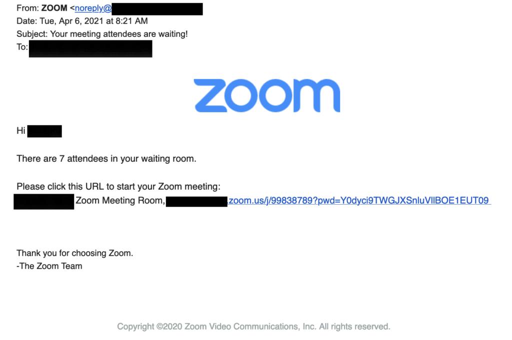 Fake Zoom Phishing Email Example